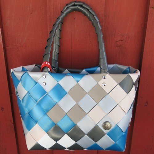 ICE BAG 5008 89 Witzgall Mini Shopper Einkaufskorb klein blau silber taupe weiss