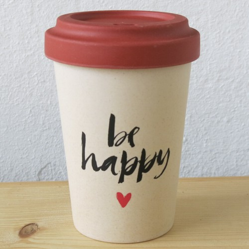 bamboo cup coffee to go becher bambus be happy kaffeebecher ebay. Black Bedroom Furniture Sets. Home Design Ideas
