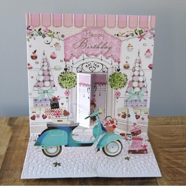 Pop Up Karte Geburtstag Roller Patisserie Macarons 3 D Happy Birthday